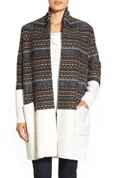 Women's Nordstrom Collection Fair Isle Long Wool And Cashmere Cardigan