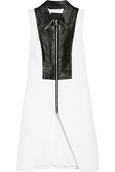 Alexander Wang Leather Paneled Textured Crepe Vest White