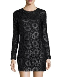 French Connection Long Sleeve Faux Leather Daisy Print Dress W Lace Overlay Black
