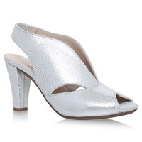 Carvela Comfort Arabella Cone Heel Open Toe Court Shoes Silver Leather