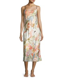 Natori Yuzen Floral Print Gown Antique