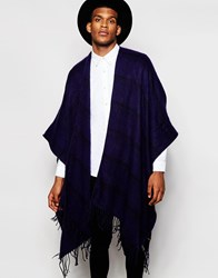 Asos Cape In Navy Stripe