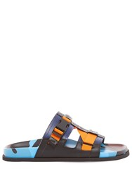 Valentino Leather And Rubber Sandals Blue