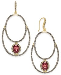 Inc International Concepts Gold Tone Pave Double Loop Drop Earrings Only At Macy's Merlot