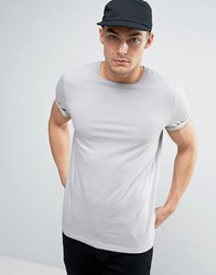 Asos T Shirt With Roll Sleeve In Pale Blue Hvar