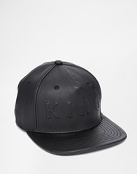 King Apparel Staple Boss Faux Leather Snapback Cap Black