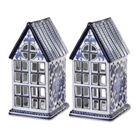 Pols Potten Porcelain House Ornaments Set Of 2