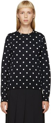 Comme Des Garcons Ivory And Navy Polka Dot Sweater