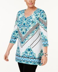 Jm Collection Plus Size Printed Necklace Tunic Only At Macy's Aqua Faroe Island