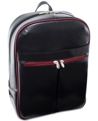 Mcklein Avalon 15.4 Leather Slim Laptop Backpack Black Red Trim