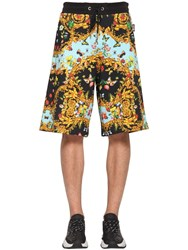 Versace Printed Cotton Jersey Shorts Black