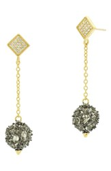 Freida Rothman Rose Dor Ball Drop Earrings Black Rhodium Gold