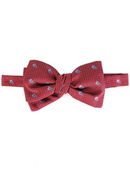 Alexander Mcqueen Dotted Skull Bow Tie Red