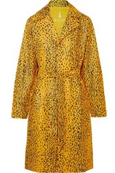 Rains Belted Leopard Print Matte Pu Trench Coat Yellow