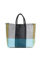 Truss Medium Tote Bag With Interior Leather Pocket Green Yellow