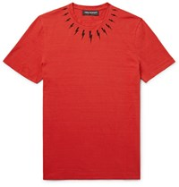 Neil Barrett Printed Cotton Jersey T Shirt Red