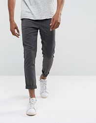 Solid Tapered Trousers In Grey 2890