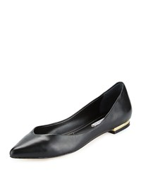 Charles David Risque Pointed Toe Leather Flat Black