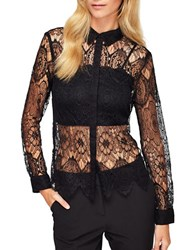 Miss Selfridge Long Sleeve Button Down Lace Shirt Black