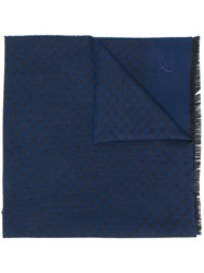 Canali Embroidered Scarf Blue