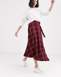 Native Youth Midaxi Wrap Skirt In Grid Check Red