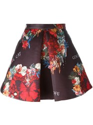 Philipp Plein Floral And Butterfly Print Skirt Black