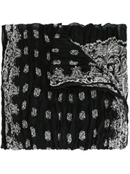 Saint Laurent Paisley Print Scarf Black