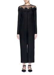 Ms Min Mesh Shoulder Floral Embroidered Oversized Jumpsuit Black