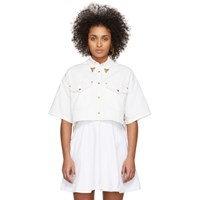 Versace Jeans Couture White Denim Cropped Shirt