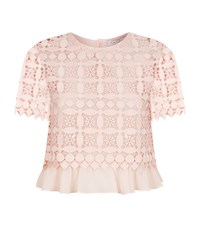 Sandro Claude Embroidered Crop Top Female Pink