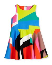 Milly Minis Sleeveless Printed Circle Dress Multicolor