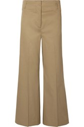 By Malene Birger Kalanna Cotton Blend Canvas Wide Leg Pants Army Green