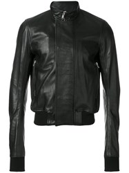 Rick Owens Cropped Leather Bomber Jacket Men Cotton Goat Skin Cupro Wool 50 Black