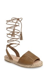 Sole Society Women's Clover Ankle Wrap Espadrille Sandal Sand Leather