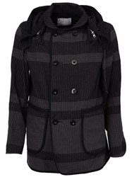 Sacai Striped Double Breasted Coat Black