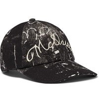 Alexander Mcqueen Leather Trimmed Embroidered Printed Cotton Canvas Baseball Cap Black