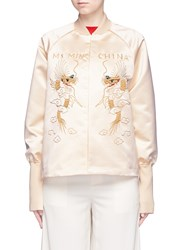 Ms Min Dragon Embroidered Satin Bomber Jacket Metallic