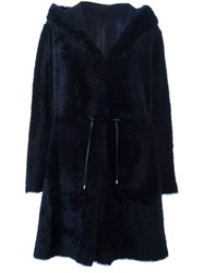 Drome Reversible Shearling Hooded Coat Blue
