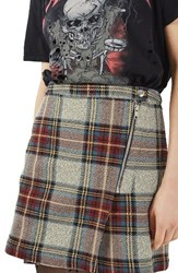 Topshop Women's Plaid Wrap Miniskirt