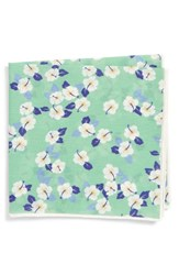 Southern Tide Hanatei Hibiscus Cotton And Silk Pocket Square Green