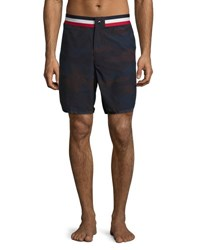 Moncler Camouflage Tricolor Band Swim Trunks Navy