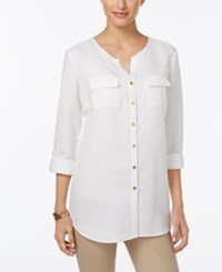 Jm Collection Linen Blend Button Back Shirt Only At Macy's Bright White