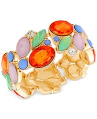 Guess Gold Tone Colorful Stone Stretch Bracelet