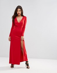 Ivyrevel Maxi Dress With Slit Front Hot Red