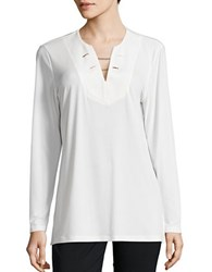 Ivanka Trump Chain Accented Long Sleeve Blouse Ivory