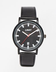 Limit Black Leather Watch With Date Black