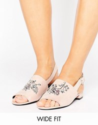 New Look Wide Fit Embroidered Slingback Sandal Blush Pink Beige