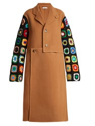 J.W.Anderson Crochet Sleeve Wool Blend Coat Camel