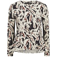 Karl Lagerfeld Women's Swirl Printed Long Sleeve Top Paint Swirl Multi