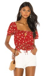 Privacy Please Valeria Top In Red. Red Emma Floral